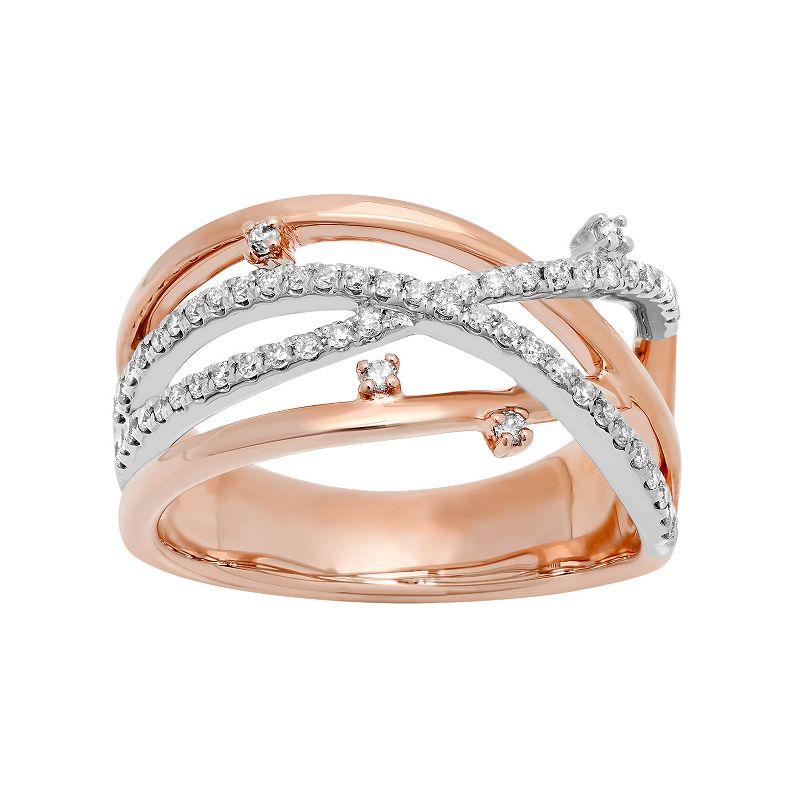 Two Tone 10k Gold 1/3 Carat T.W. Diamond Openwork Ring