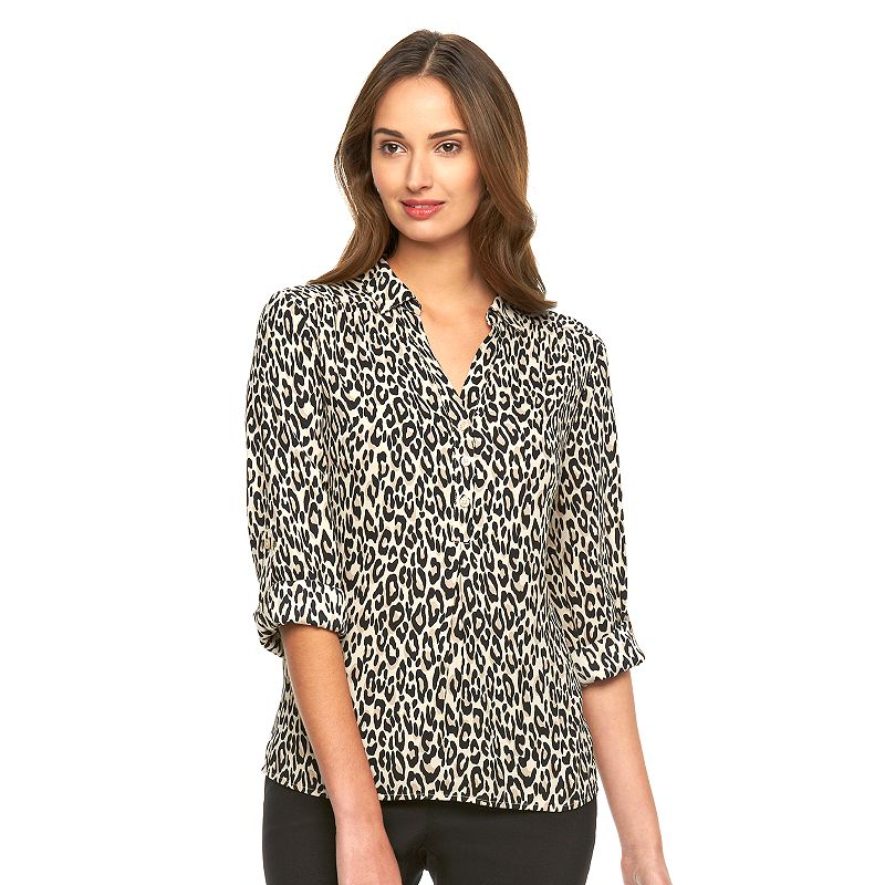 Women's Dana Buchman Crepe Roll-Tab Top