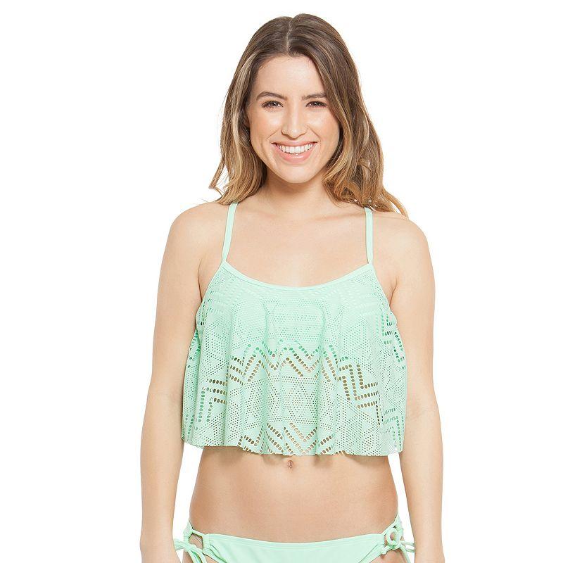 Juniors' SO® Crochet Flounce Midkini Top