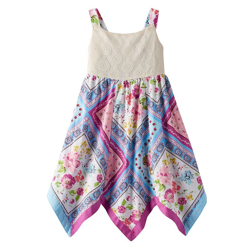 Girls 4-6x Blueberi Boulevard Floral Handkerchief-Hem Sundress