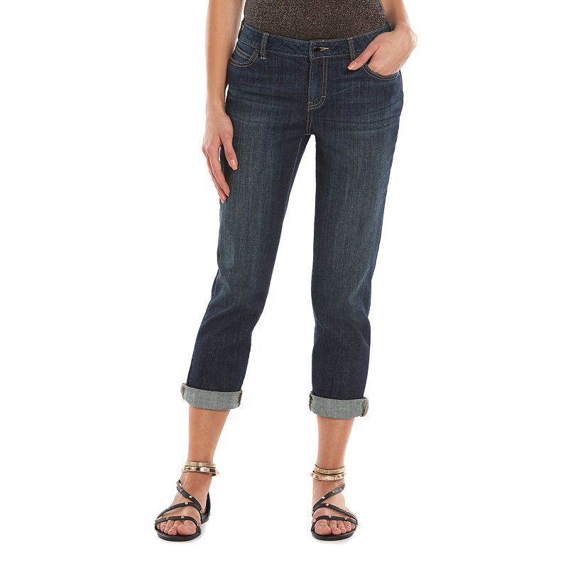 Women's Jennifer Lopez Boyfriend Jeans, Size: 0 Short, Dark Blue