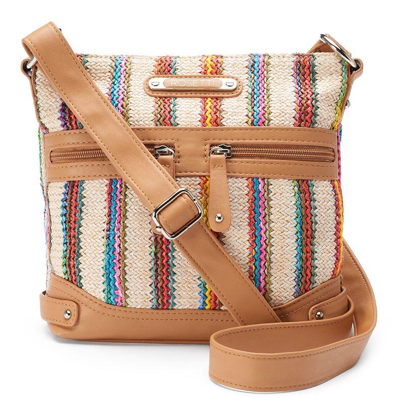 Rosetti Sage Straw Striped Mini Crossbody Bag