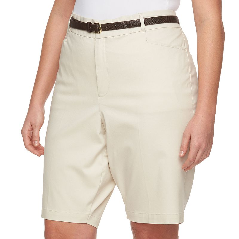 Plus Size Gloria Vanderbilt Charlene Twill Bermuda Shorts