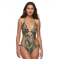 Juniors' Realtree Camouflage Embellished Monokini Swimsuit