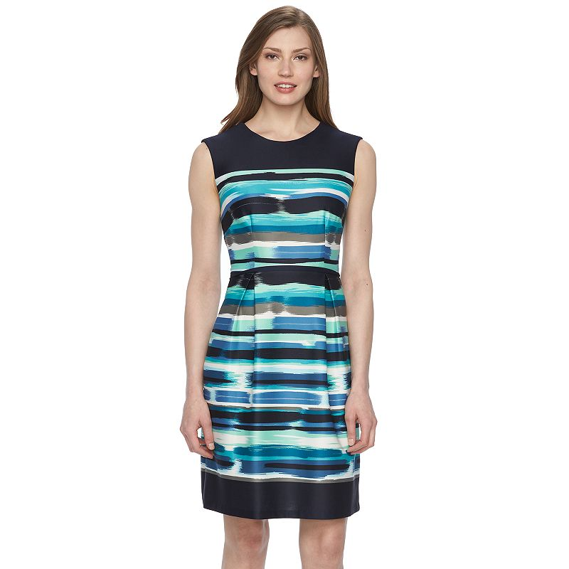 Women's Connected Apparel Striped Fit & Flare Dress