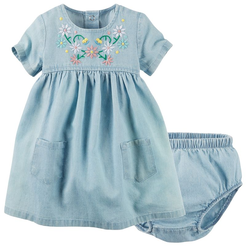 Baby Girl Carter's Embroidered Babydoll Chambray Dress