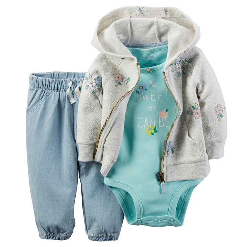 Baby Girl Carter's Floral Hooded Cardigan, Bodysuit & Chambray Pants Set