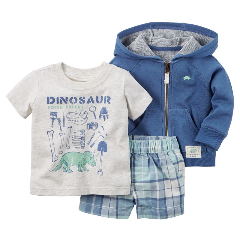 Baby Boy Carter's Dinosaur Tee, Hooded Cardigan & Plaid Shorts Set