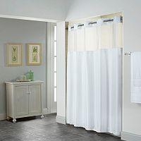 Hookless Shiny Herringbone Lined Shower Curtain