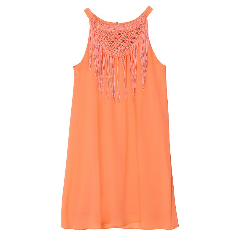 Girls 7-16 IZ Amy Byer Fringe Trim Swing Tank Dress