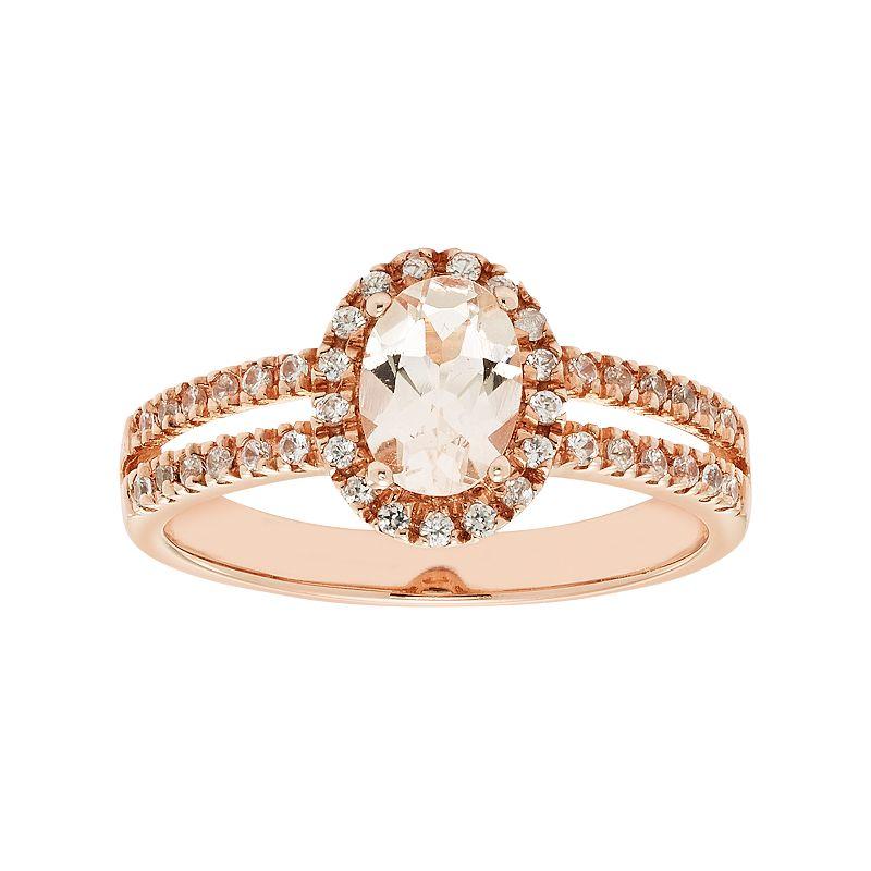 Sterling Silver Morganite & White Zircon Halo Ring