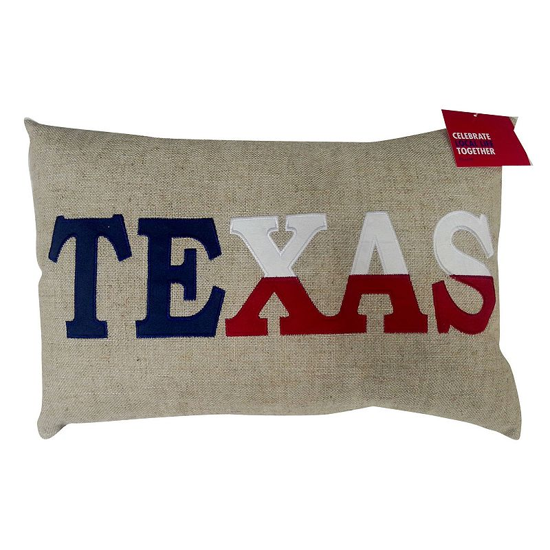 Celebrate Local Life Together ''Texas'' Burlap Throw Pillow
