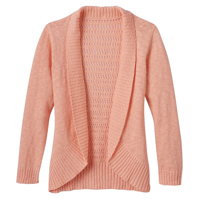 Girls 7-16 Blush & Bloom Crochet Back Slubbed Cardigan