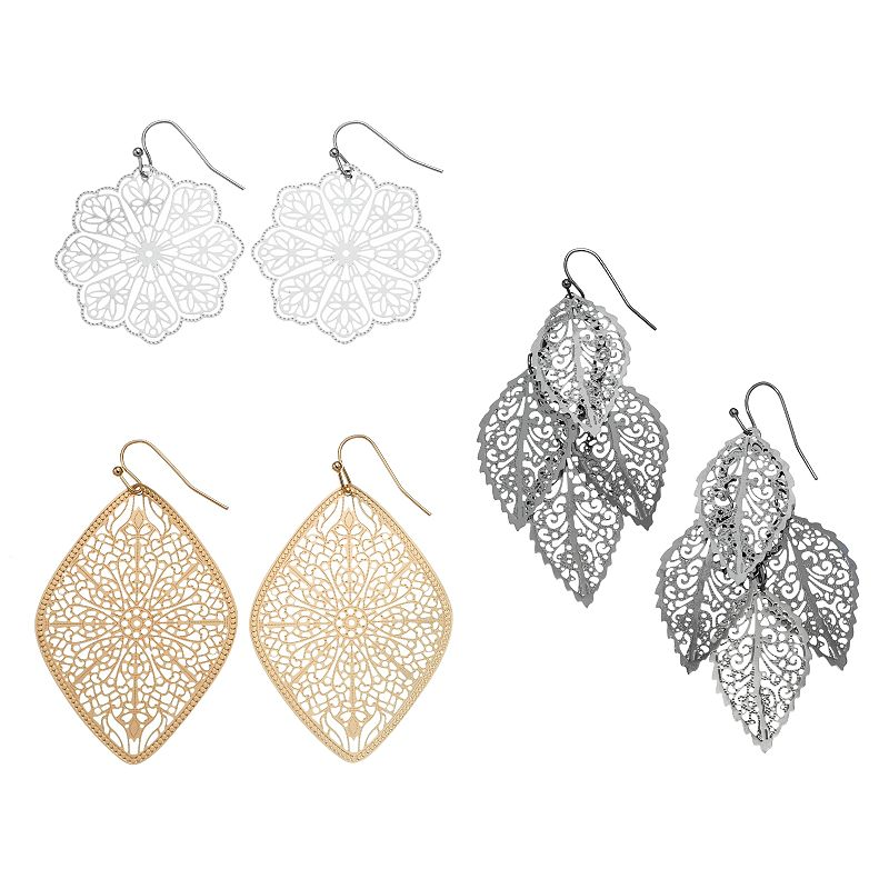 Mudd® Tri-Tone Filigree Drop Earring Set