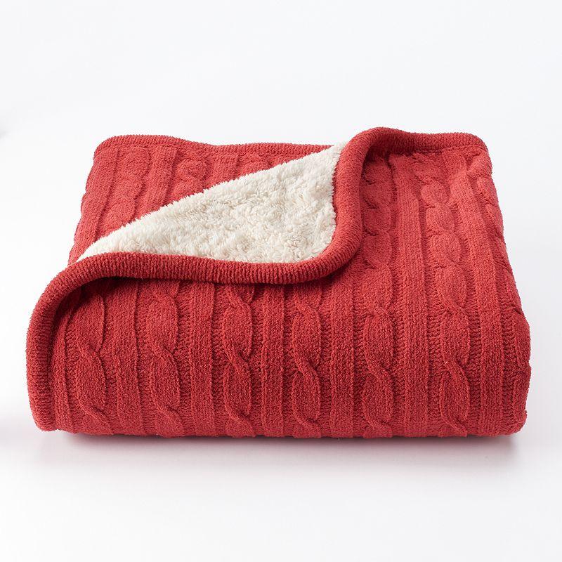 VCNY Denali Sweater Knit Sherpa Throw