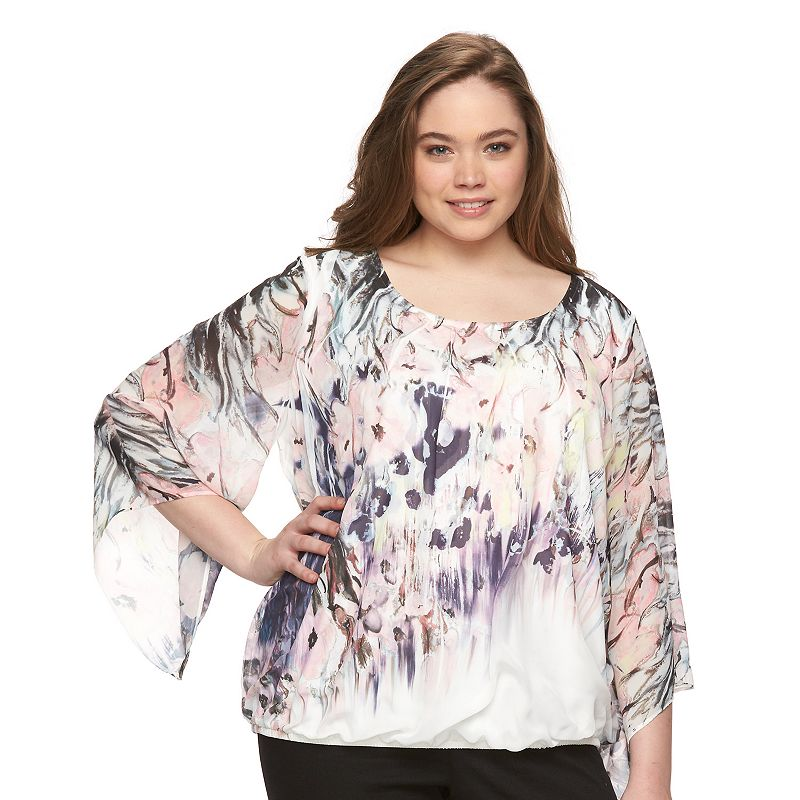 Plus Size AB Studio Floral Scoopneck Top