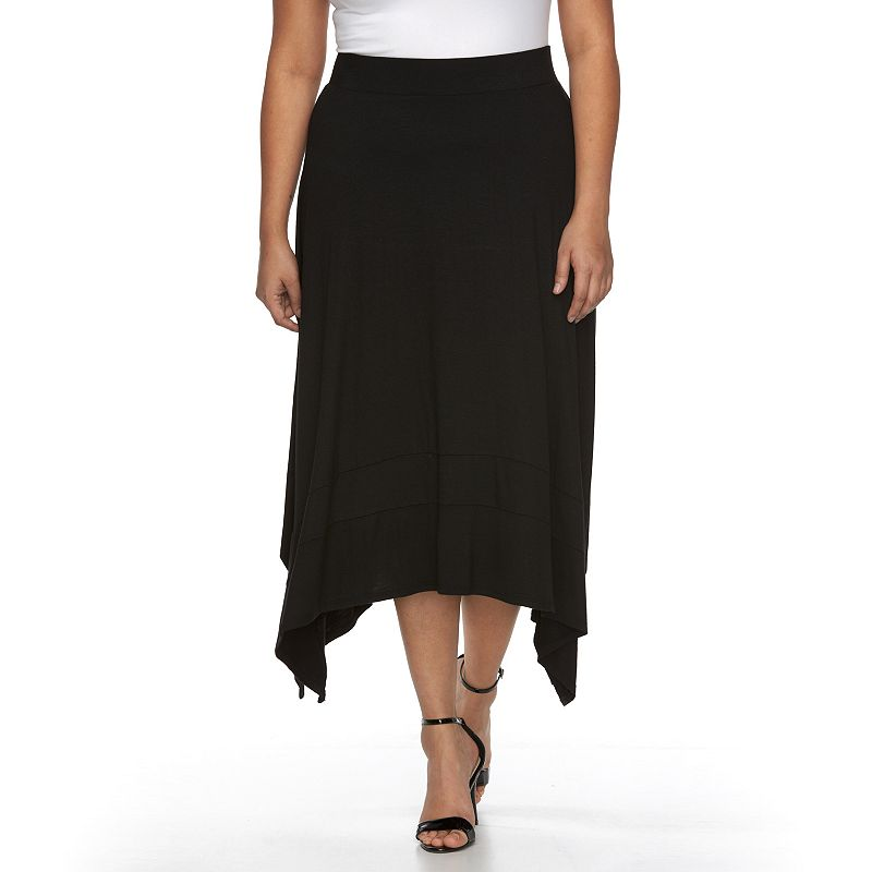 Plus Size AB Studio Sharkbite Hem Skirt