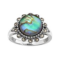 Tori HillSterling Silver Abalone Doublet & Marcasite Halo Ring