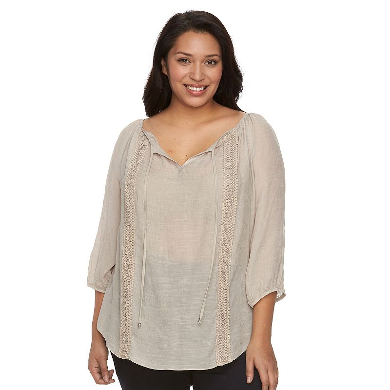 Plus Size AB Studio Crochet Peasant Top