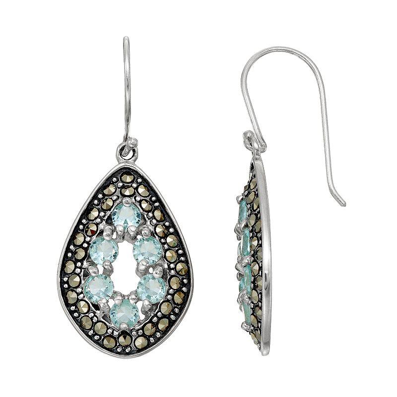 Tori HillSterling Silver Cubic Zirconia & Marcasite Teardrop Earrings
