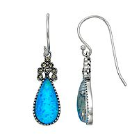 Tori HillSterling Silver Simulated Blue Opal & Marcasite Teardrop Earrings