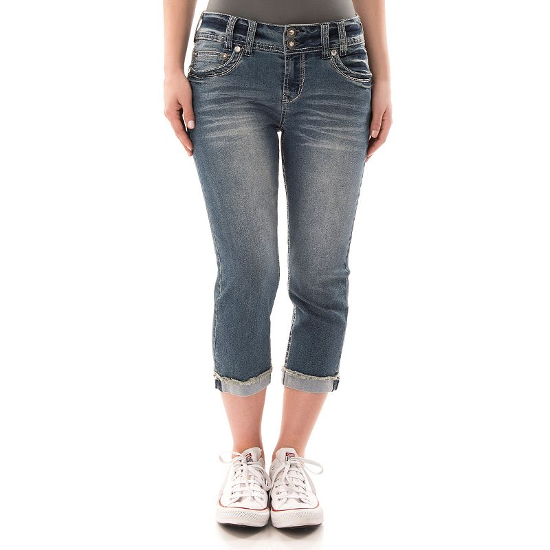 Juniors' Wallflower Curvy Faded Denim Capris