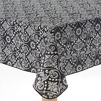 Cuisinart Damask Peva Flannel-Back Tablecloth