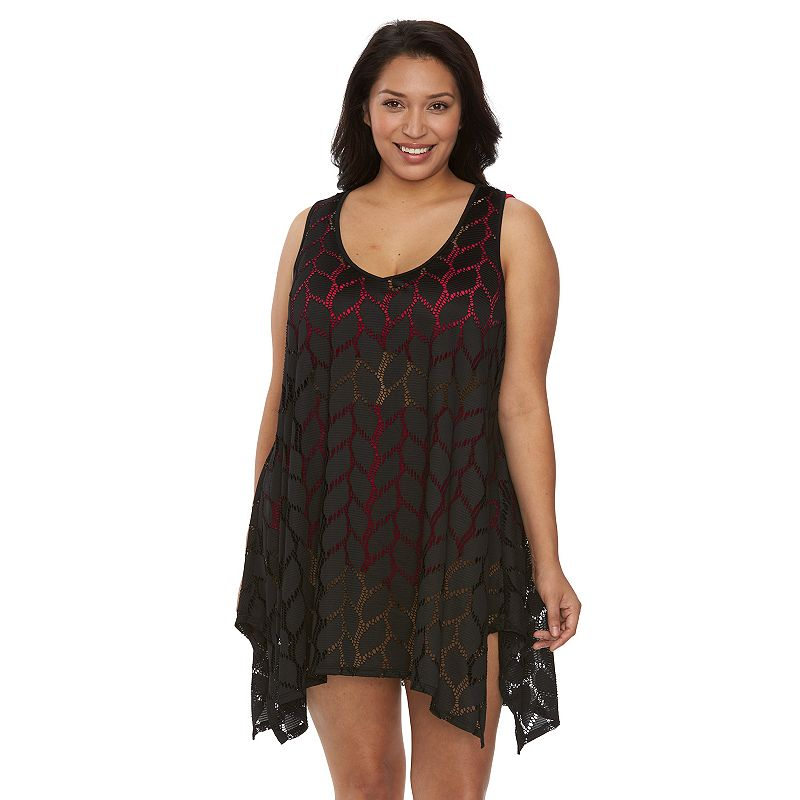 Plus Size Beach Scene Portofino Crochet Tunic Cover-Up