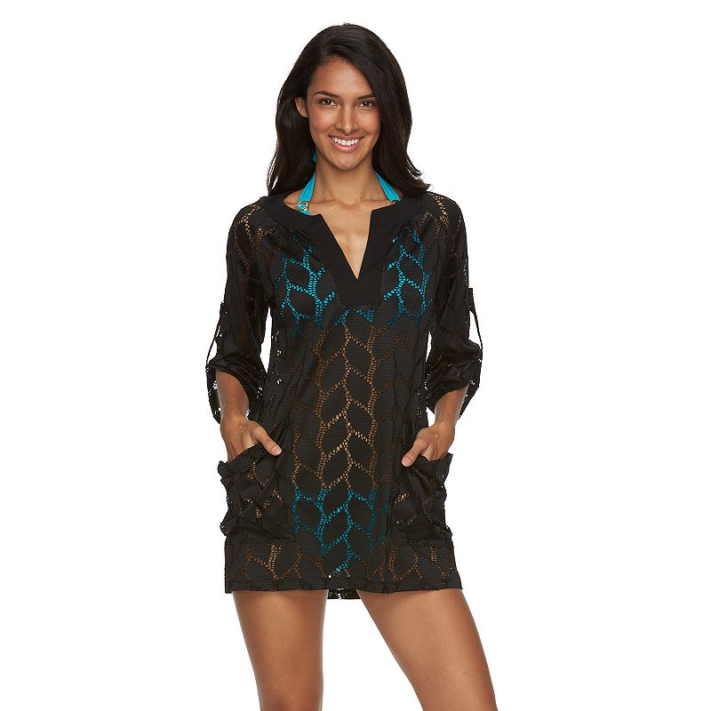 Women's Beach Scene Bonita Crochet Tunic Cover-Up