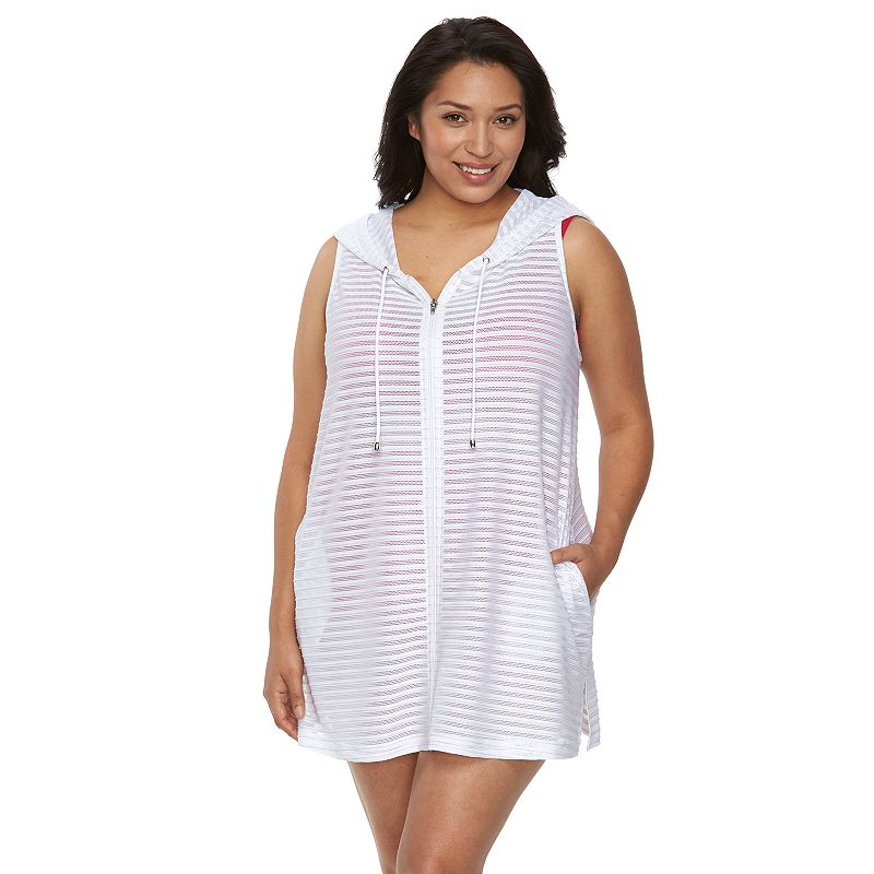 Plus Size Beach Scene Sanibel Striped Hooded Cover-Up