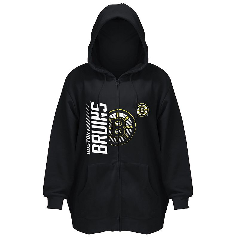 Plus Size Majestic Boston Bruins Full-Zip Hoodie
