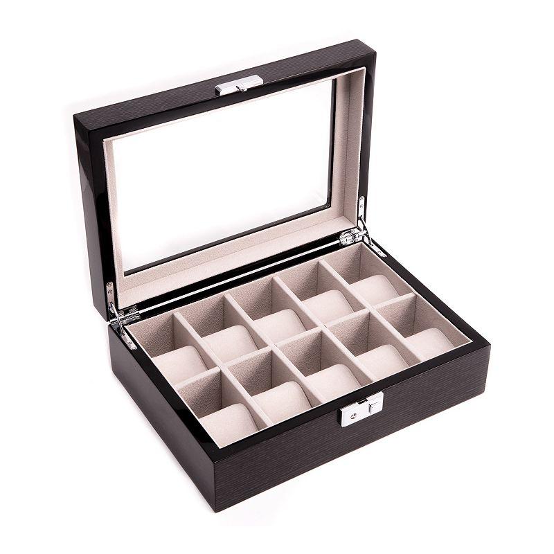 Bey-Berk Lacquered Wood Gray Watch Storage Case