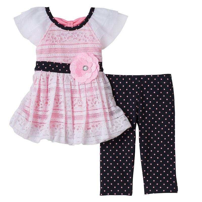 Baby Girl Little Lass Lace Tunic & Polka-Dot Leggings Set