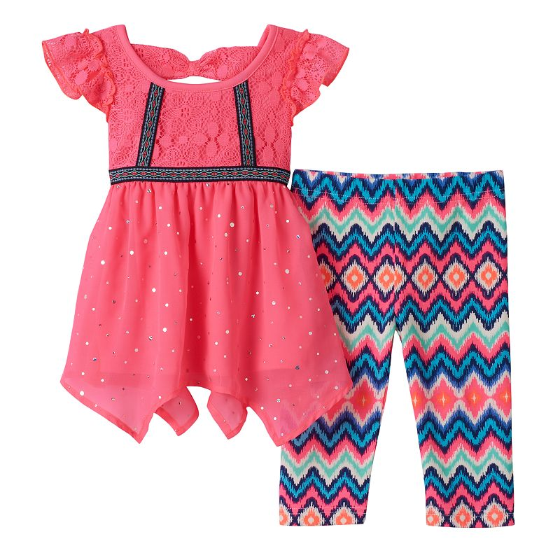Baby Girl Little Lass Neon Tunic & Leggings Set