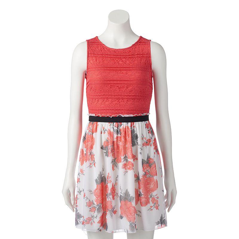 Juniors' Speechless Lace & Mesh Tank Dress