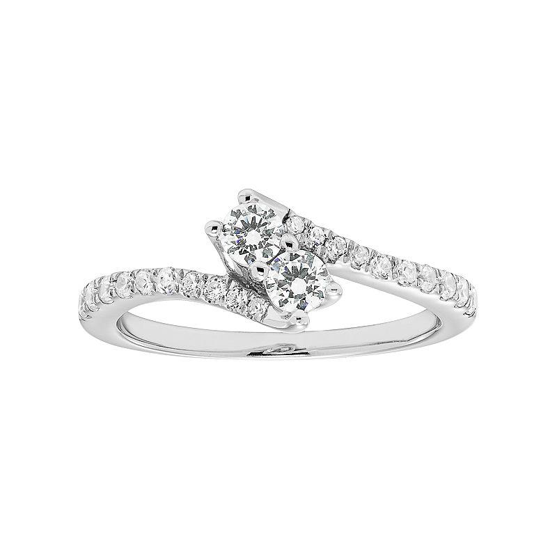 14k White Gold 1/2 Carat T.W. IGL Certified Diamond 2-Stone Engagement Ring