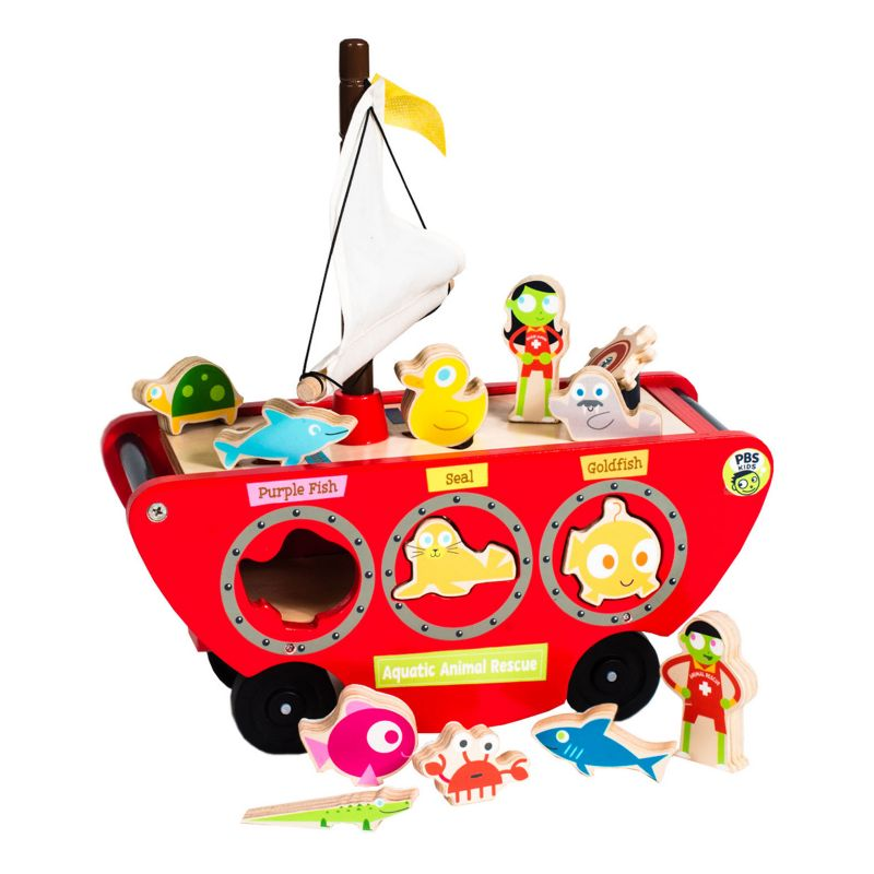 PBS KIDS Wooden Toy Boat Shape Sorter