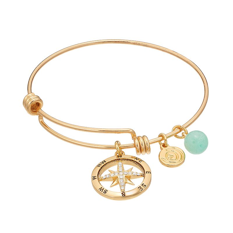 love this life Amazonite & Crystal Compass Charm Bangle Bracelet