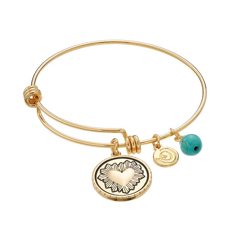 love this life Simulated Turquoise Heart Charm Bangle Bracelet