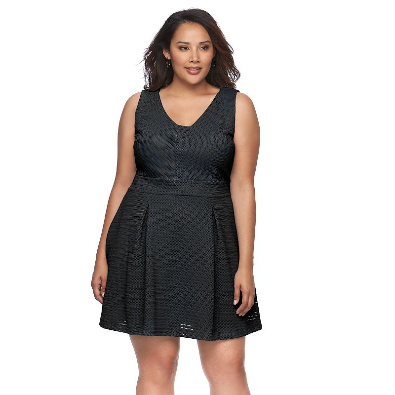Plus Size Jennifer Lopez Pointelle Fit & Flare Dress