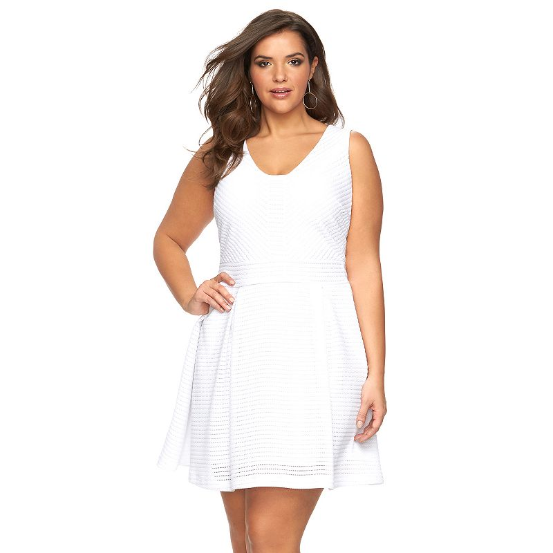 Plus Size Jennifer Lopez Pointelle Fit & Flare Dress