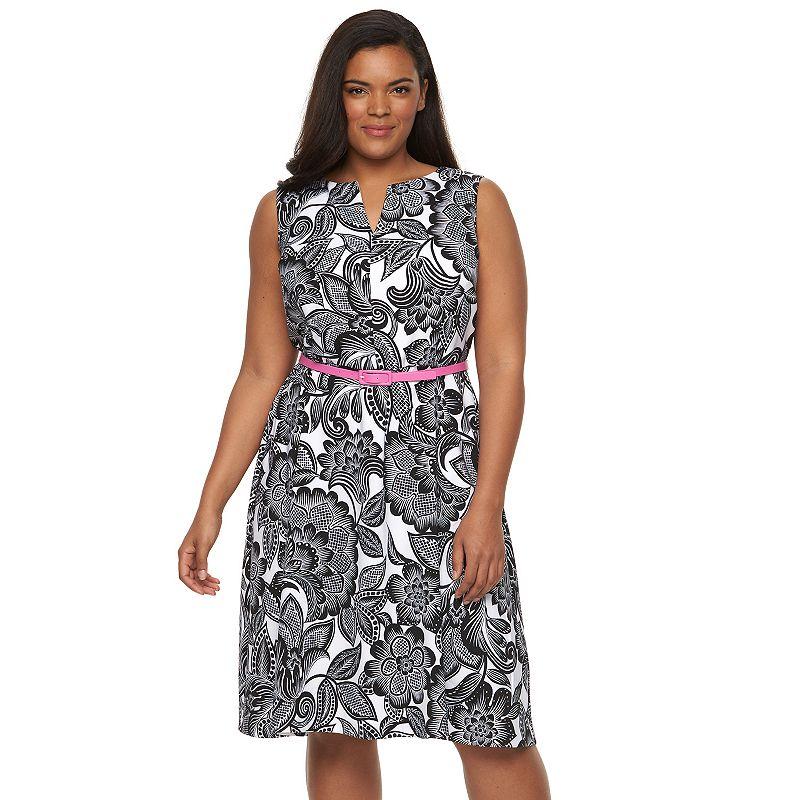 Plus Size Suite 7 Floral-Leaf Fit & Flare Dress