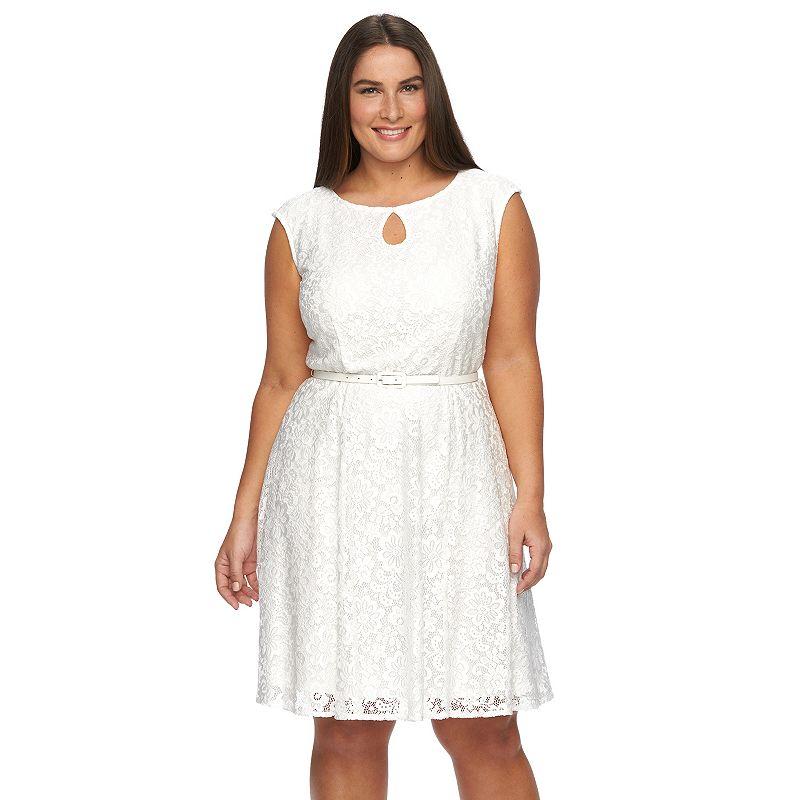 Plus Size Suite 7 Floral Lace Fit & Flare Dress