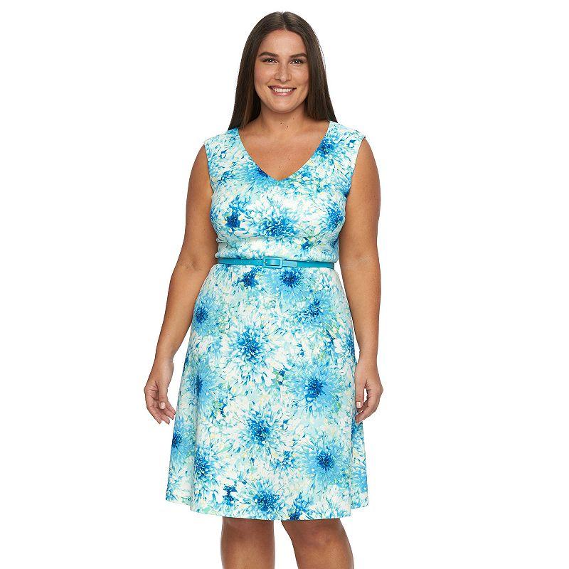 Plus Size Suite 7 Floral Fit & Flare Ponte Dress