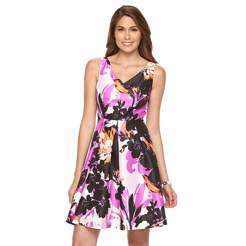 Petite Suite 7 Floral Taffeta Fit & Flare Dress