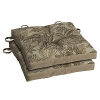 Bombay® Outdoors Palmetto Mocha Floral Reversible Chair Pad 2-piece Set
