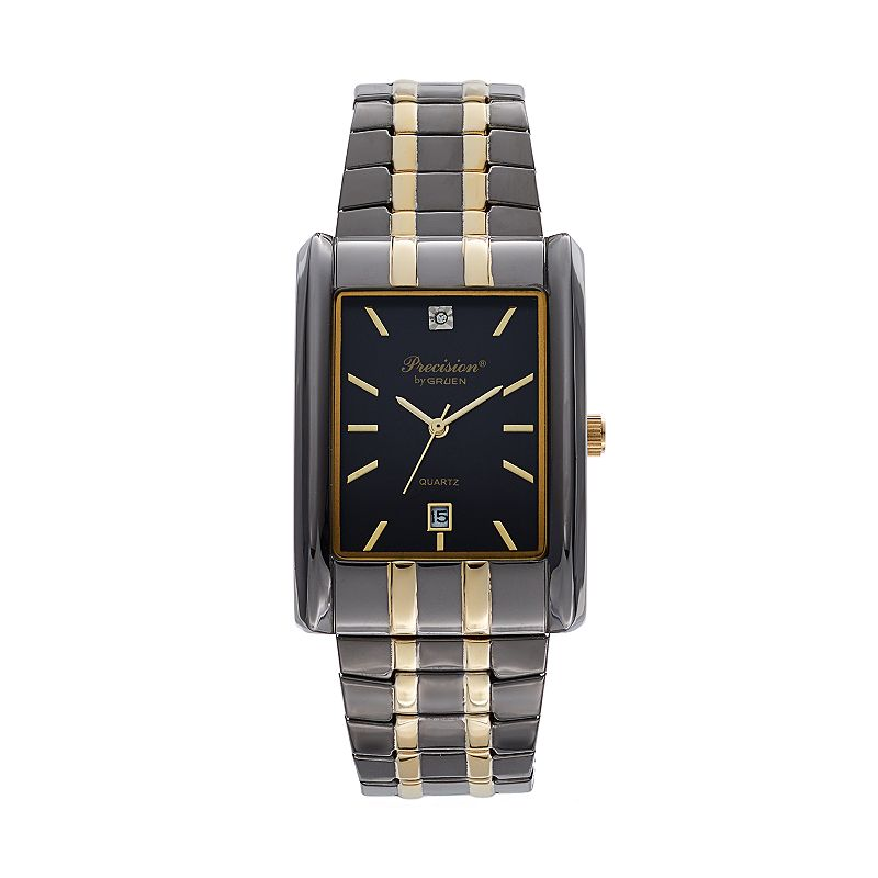 Precision by Gruen Men's Diamond Two Tone Stainless Steel Expansion Watch