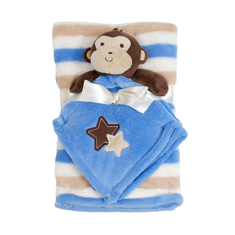 Baby Gear Plush Animal Security Blanket & Velboa Blanket Set