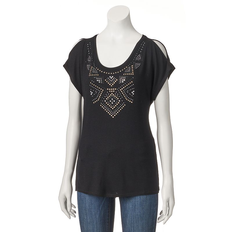 Women's Apt. 9® Studded Cold-Shoulder Tee