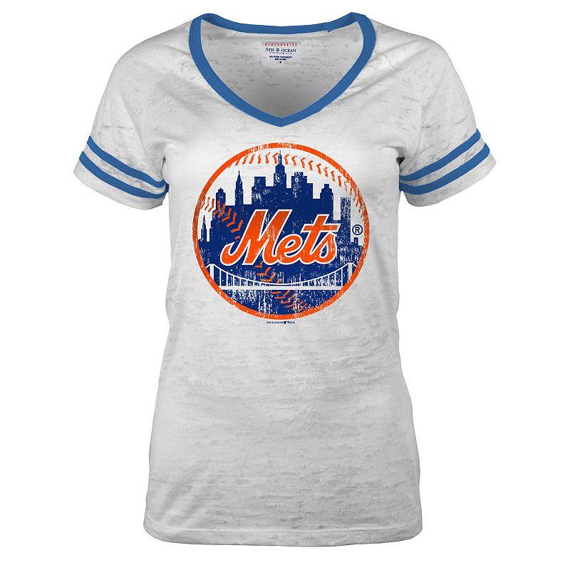 Women's 5th & Ocean New York Mets Burnout Baseball Tee